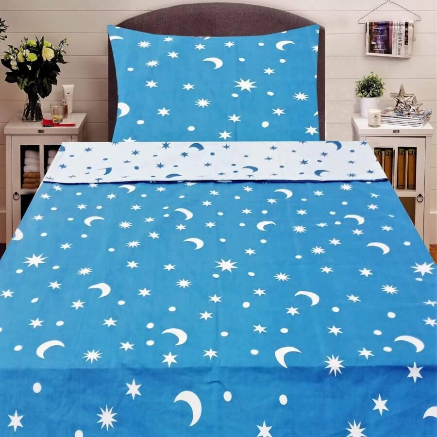 Pamut ágyneműhuzat 2 részben piros és kék színben csillag minta, dupla minta