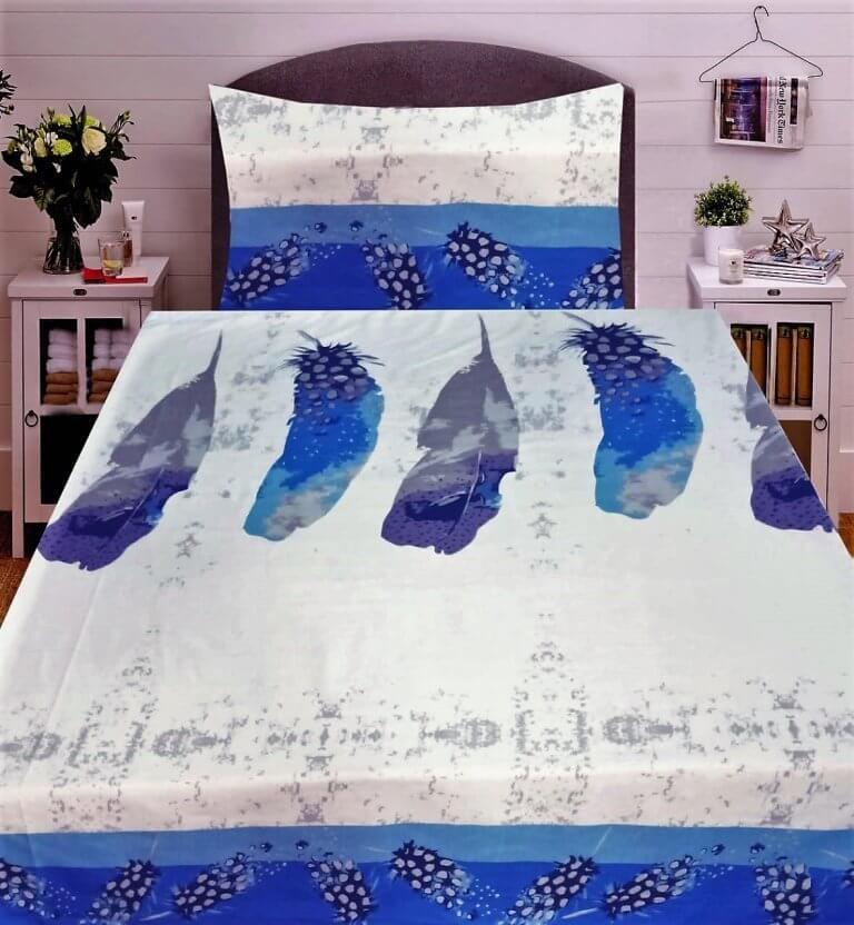 3 részes flanel ágyneműhuzat krém szinben kék levél minta