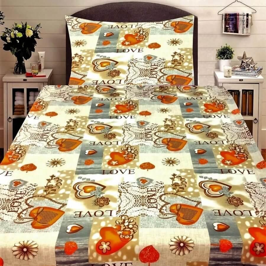 3 részes flanel ágynemű kellemes sziv mintával és LOVE felirattal