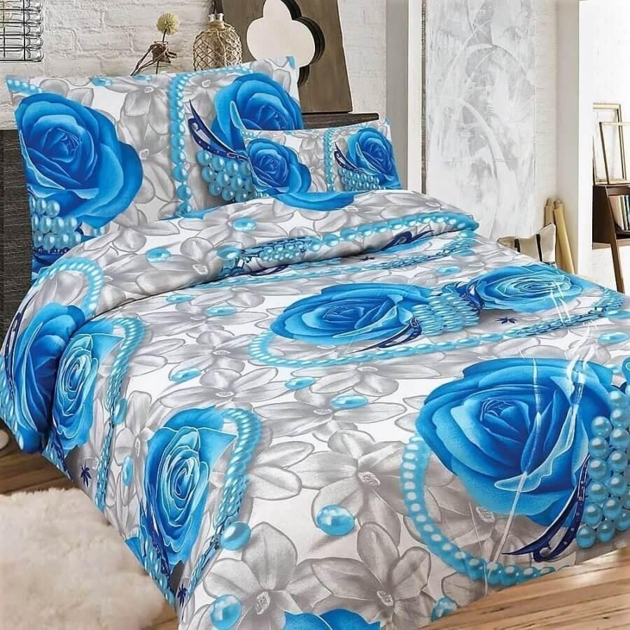 Pamut ágyneműhuzat 2 részben szürke alapon kék rózsa minta