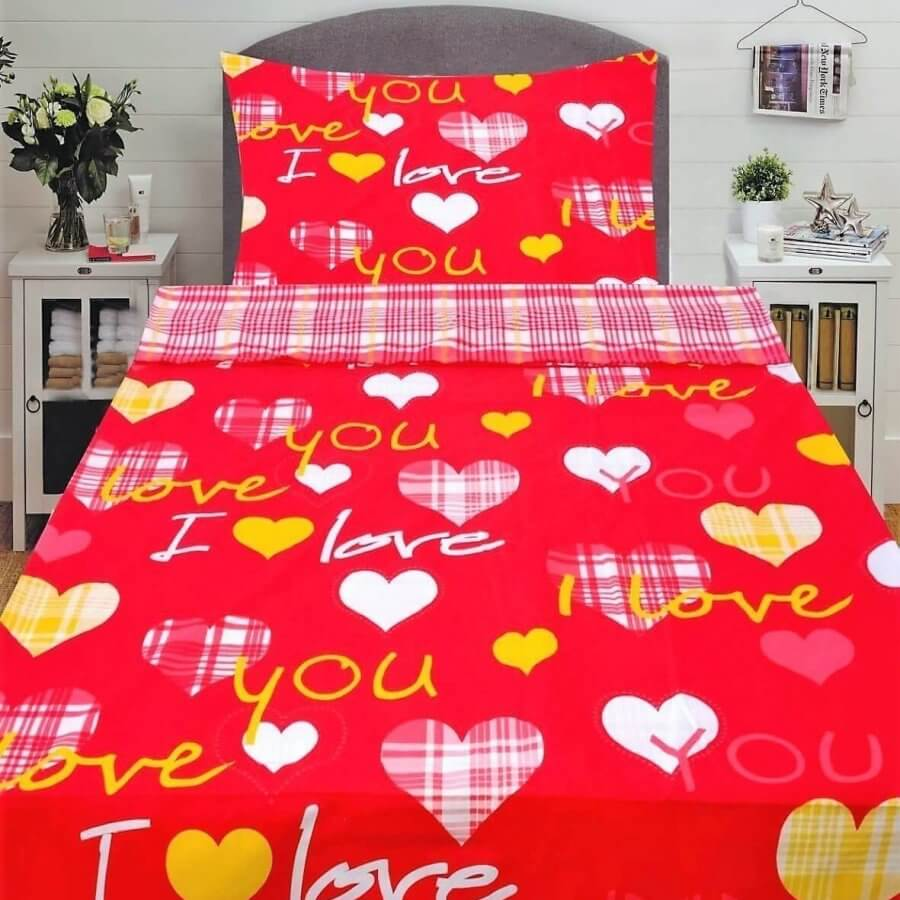 Pamut ágyneműhuzat 2 részben türkiz és piros színben love és szív mintával