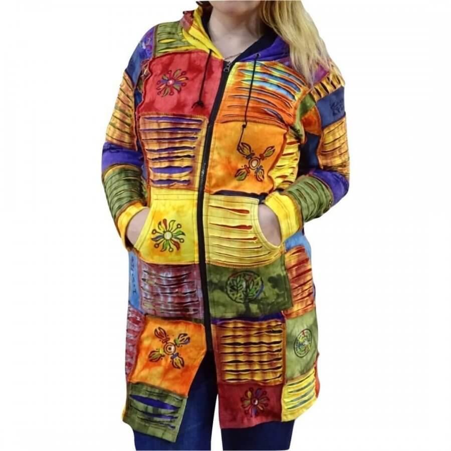 Vékony kabát Nepálból kockás mintával