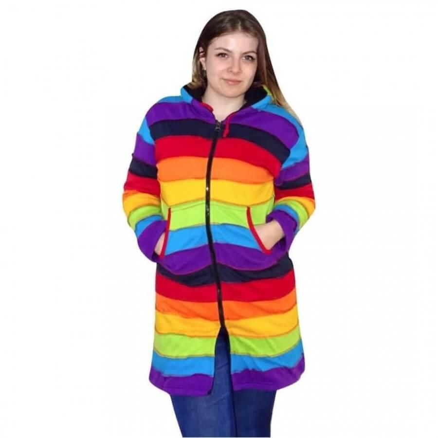 nepáli hosszú kabát élénk szivárvány színben