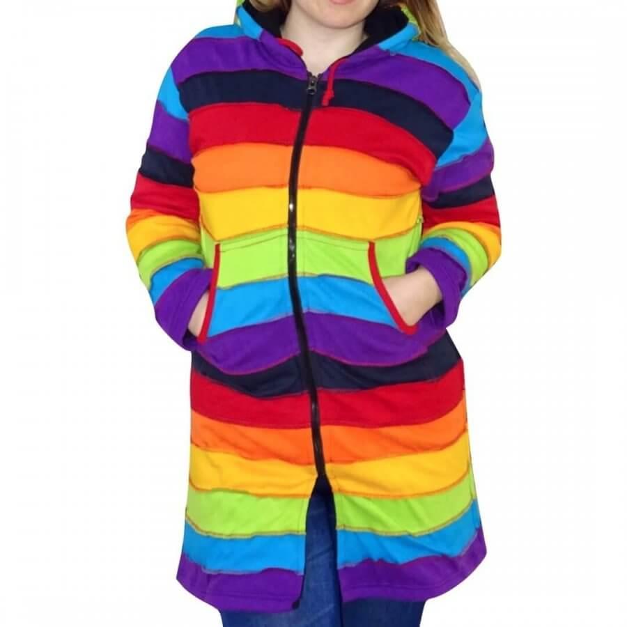 Bélelt hosszú kabát Nepálból a szivárvány színeiben-élénk színek