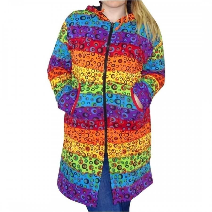 Bélelt hosszú kabát Nepálból szivárvány színes buborék mintával