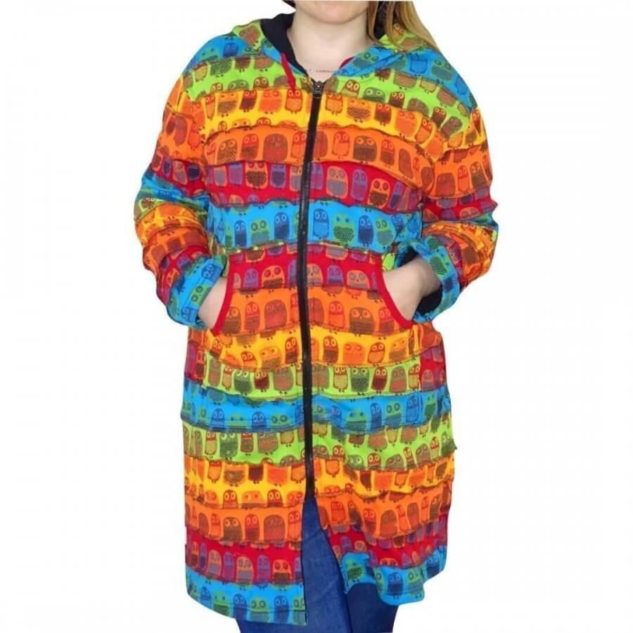 Bélelt hosszú kabát Nepálból szivárvány színes bagoly mintával