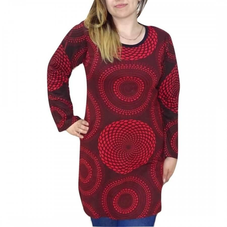 Piros mintás női pamut tunika