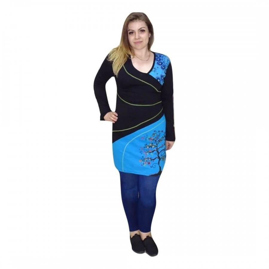 Kék és fekete mintás Nepáli tunika