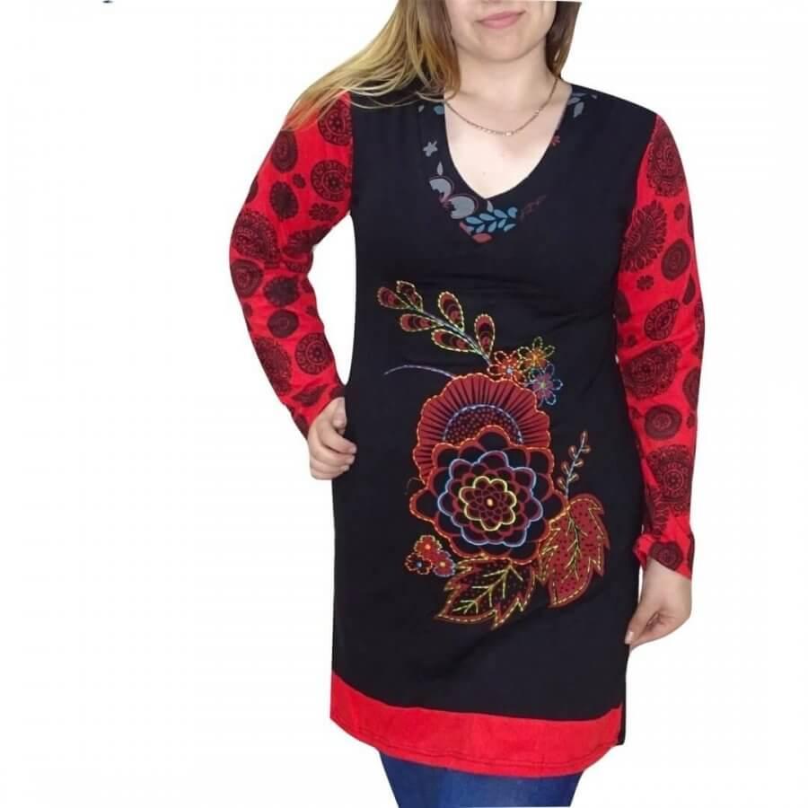 Piros-fekete mandala mintás Nepáli tunika
