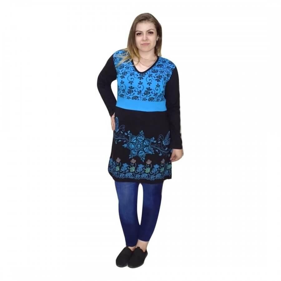 Nepáli tunika fekete és kék színben mandala minta