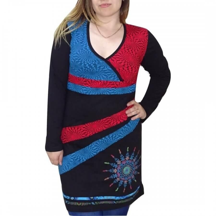 Női tunika piros-kék színben mandala minta