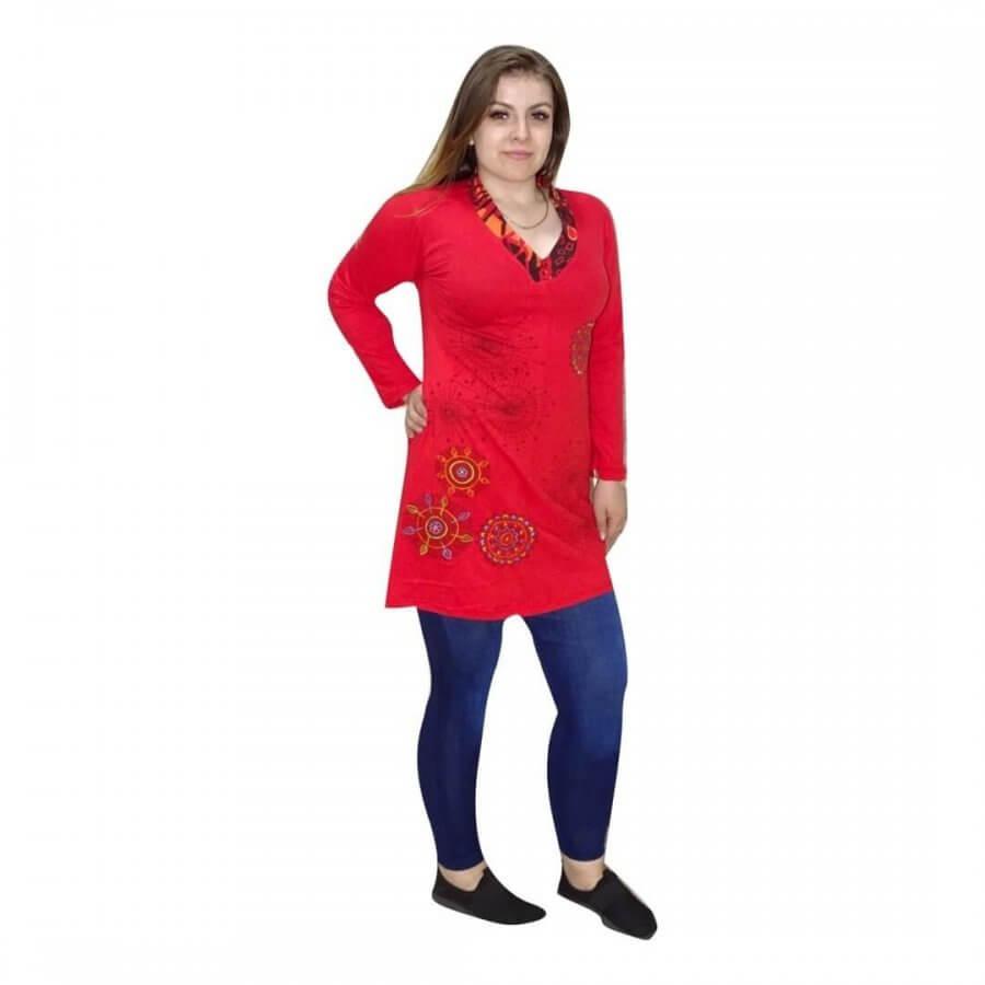 piros nepáli tunika nőknek hímzett mintával