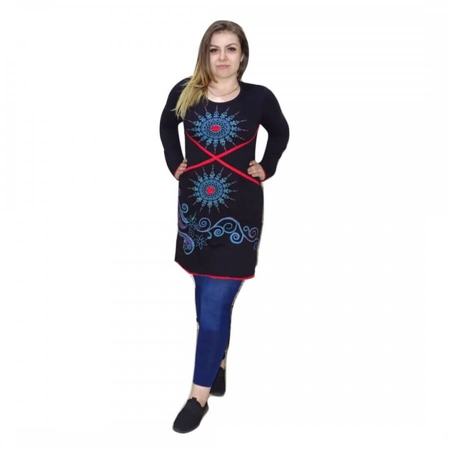 Nepáli tunika, fekete alapon kék mandala minta
