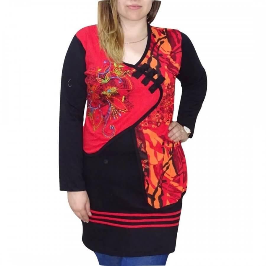 Fekete-piros Nepáli tunika mandala mintával