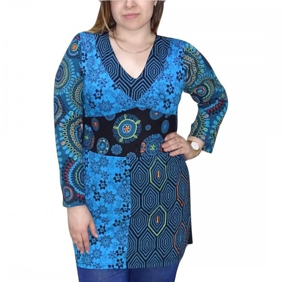 Nepáli tunika egyedi mintával 4 méretben,kék színben