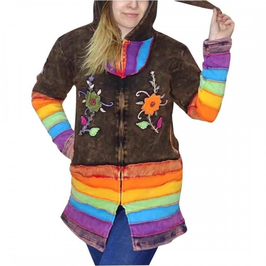 637455e2ab Egyedi Nepáli kabát barna és szivárvány színben- giagoldtextiles.hu