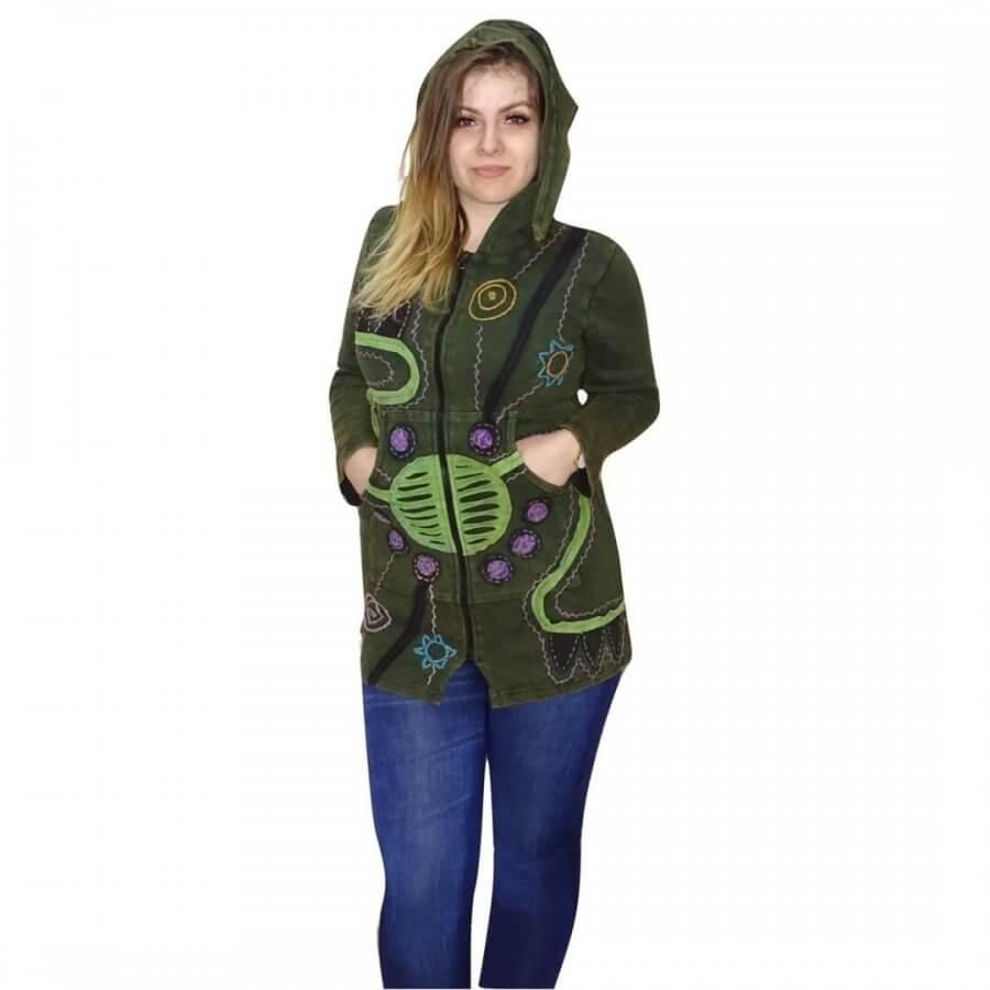Vékony kabát Nepálból zöld színben