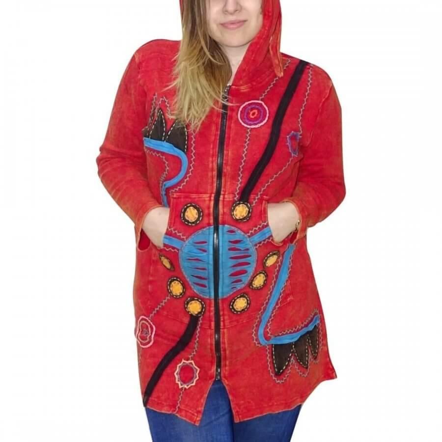 Vékony kabát Nepálból piros színben