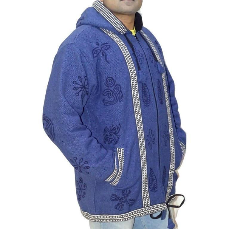 OM mintás- vastag férfi kabát Nepálból- 4 színben