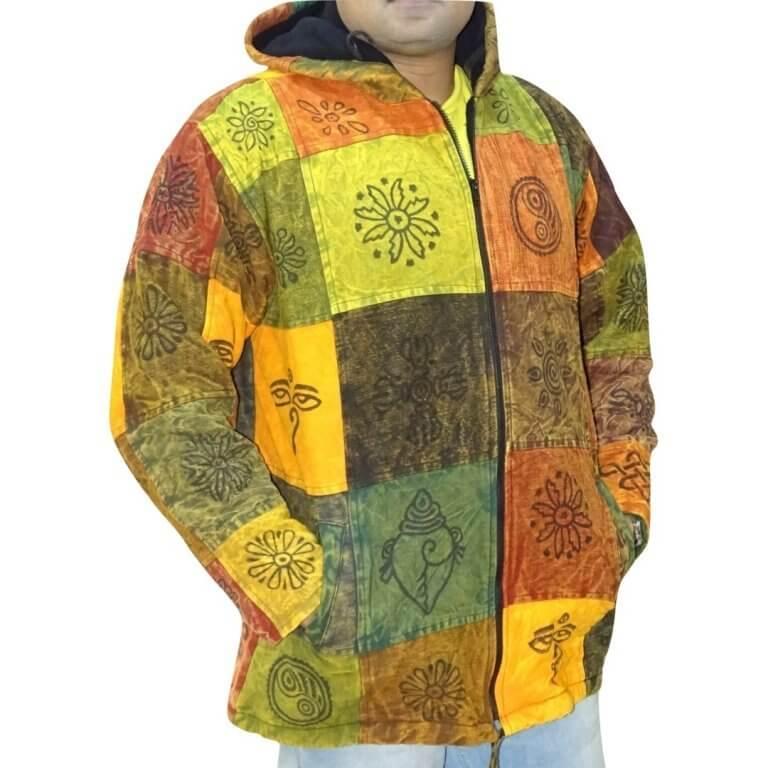 Vastag férfi kabát Nepálból színes kockás alapon egyedi minta