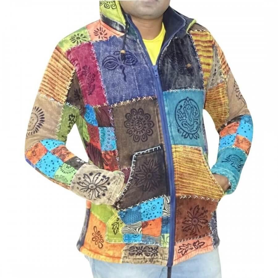 Vastag férfi kabát Nepálból színes kockás alapon egyedi kézzel készített minta