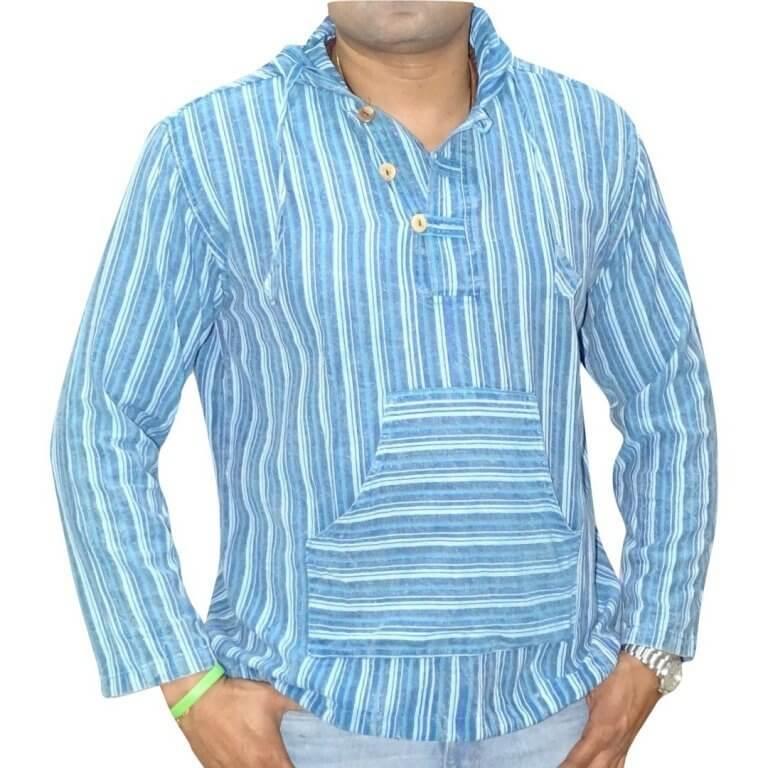 kék csíkos kenguru ing Nepálból 3 színben
