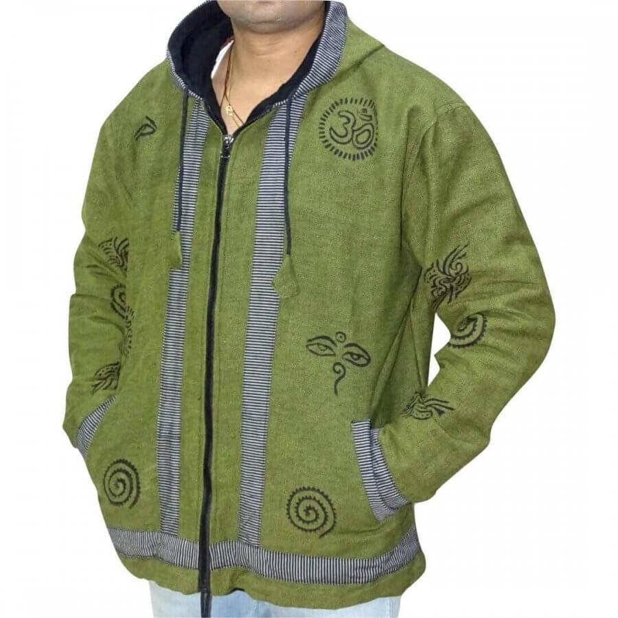 OM mintás- vastag férfi kabát Nepálból- választható 4 színben
