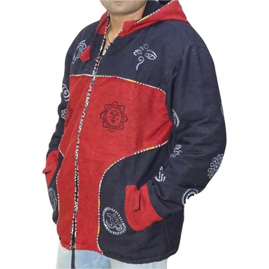 OM mintás vastag férfi kabát Nepálból- 3 színben