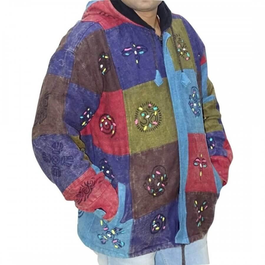 OM mintás- vastag férfi kabát Nepálból színes kockás alapon