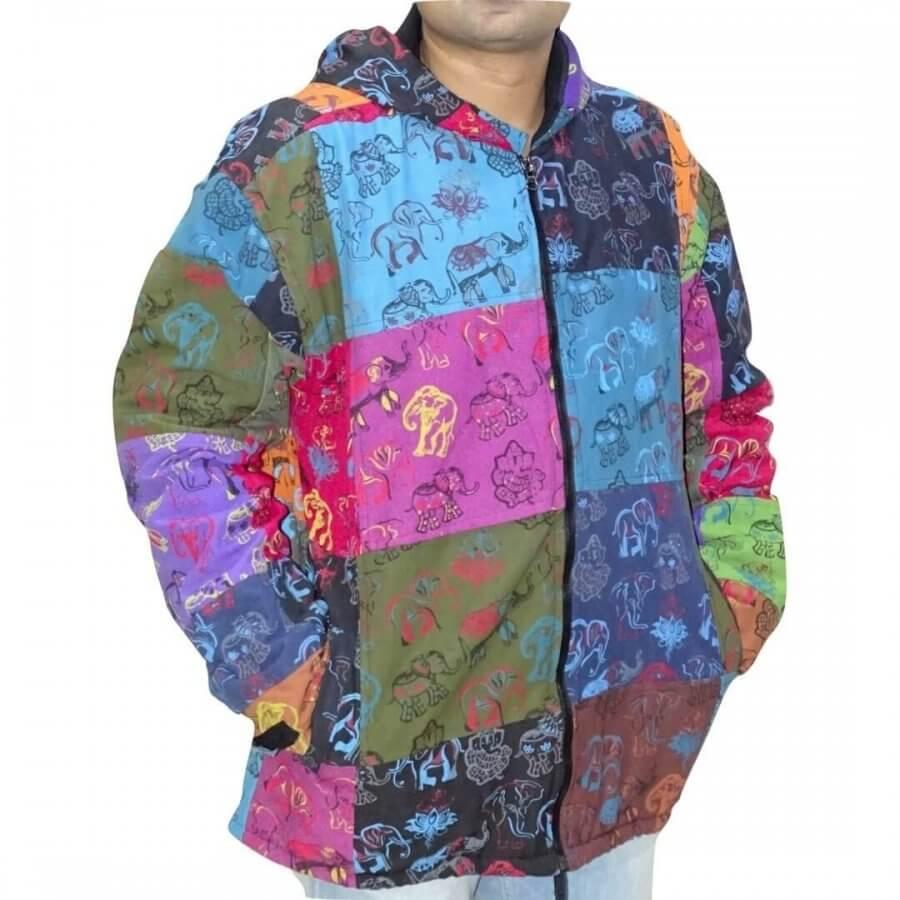 Elefánt mintás- vastag férfi kabát Nepálból színes kockás alapon