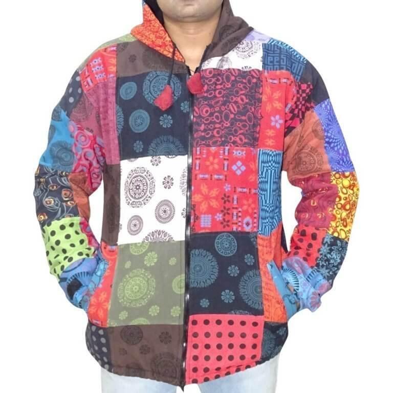 Mandala mintás- vastag férfi kabát Nepálból színes kockás alapon
