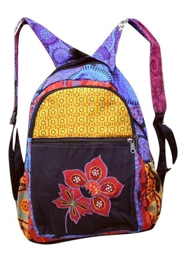 Virág és mandala mintás hátizsák Nepálból