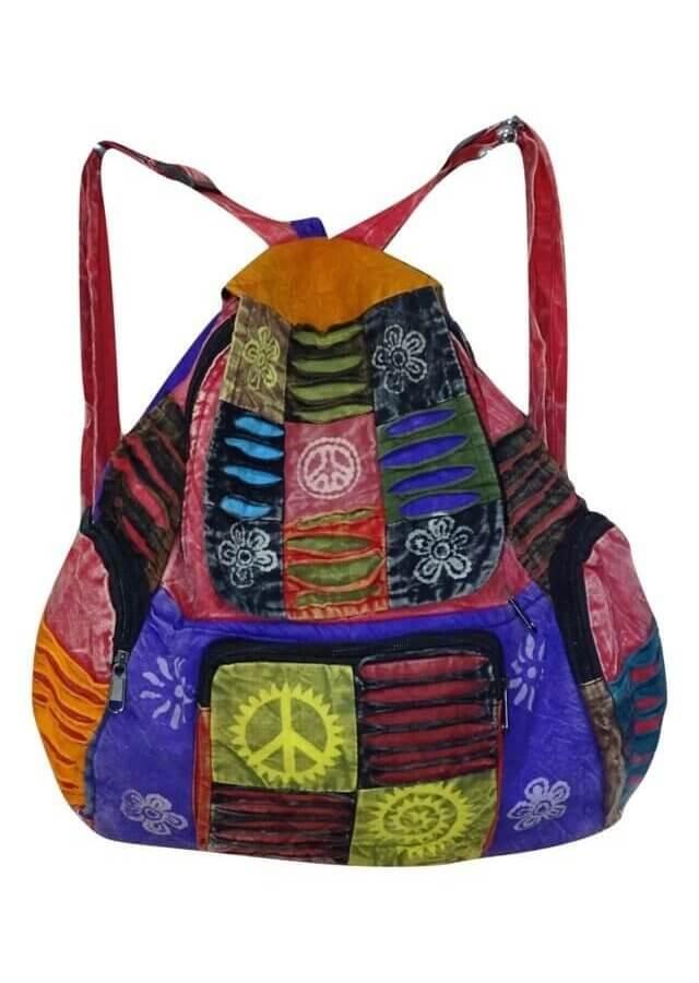 Kockás mintájú hátizsák Nepálból