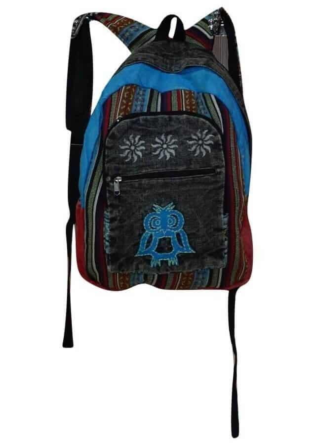 Szürke hátizsák Nepálból bagoly mintával