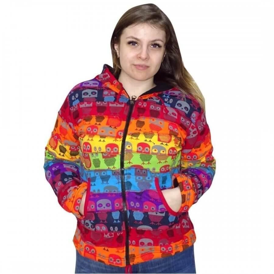 rövid kabát nepálból szivárvány színben bagoly minta