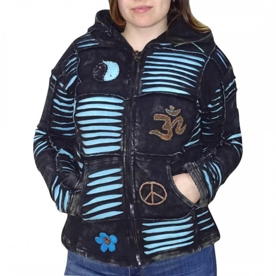 Vastag bélelt rövid kabát Nepálból fekete alapon kék OM minta
