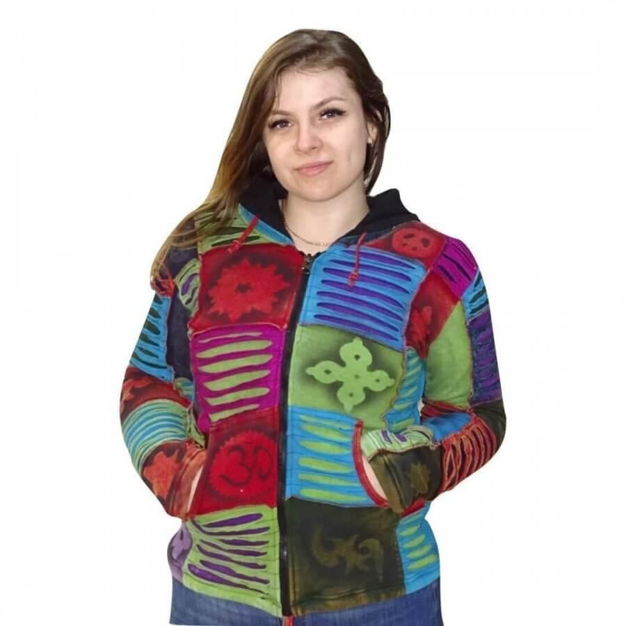 rövid kabát nepálból színes kockás om mintával