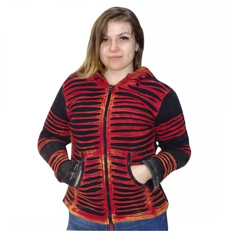 Vastag bélelt rövid kabát Nepálból piros-fekete színben
