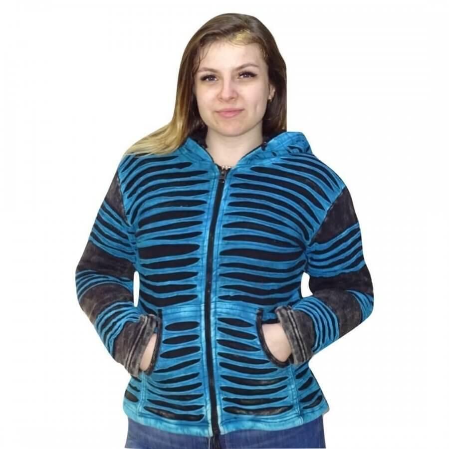 vastag bélelt rövid kabát nepálból türkiz színben