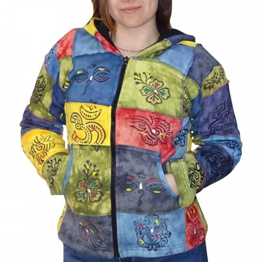 Vastag bélelt rövid kabát Nepálból színes kockás mintával