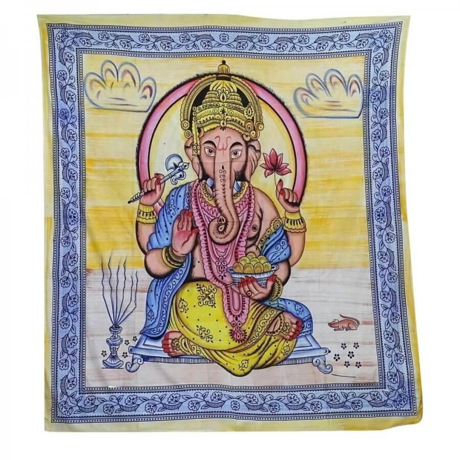 Ganésa mintás falidísz Indiából világos színekkel
