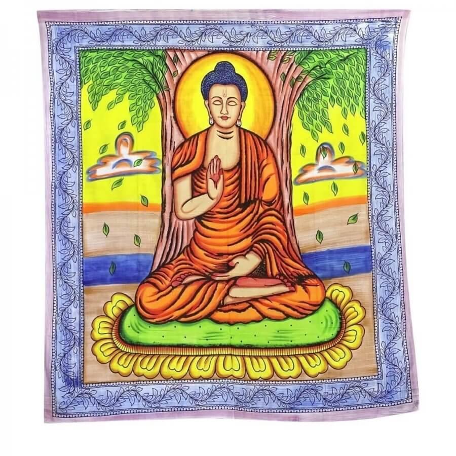 Budha mintás falidísz Indiából világos színekkel
