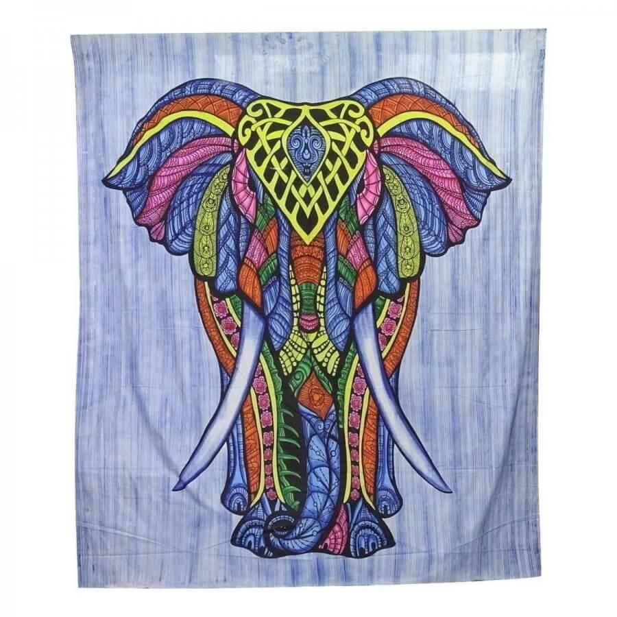 Elefánt mintás pamut falidísz Indiából kék színben