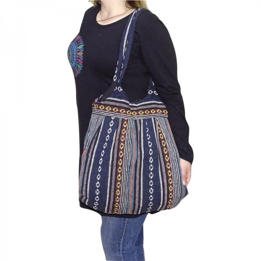 Pamut táska 2 pántos csíkos mintával 6 választható színben