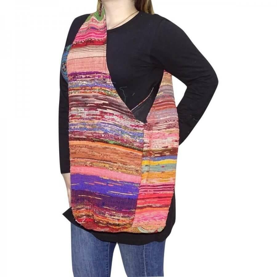 Kosár alakú pamut táska Nepálból csíkos mintával választható színekkel