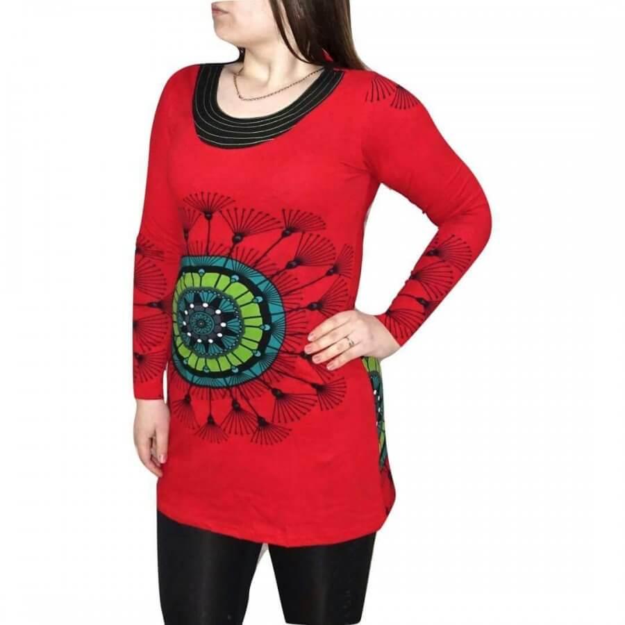 Női Tunika Mandala Jellegű piros Színben