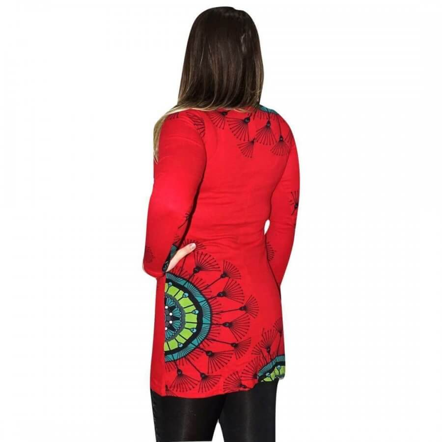 9bb39abf5f Női Tunika Mandala Jellegű piros Színben- giagoldtextiles.hu