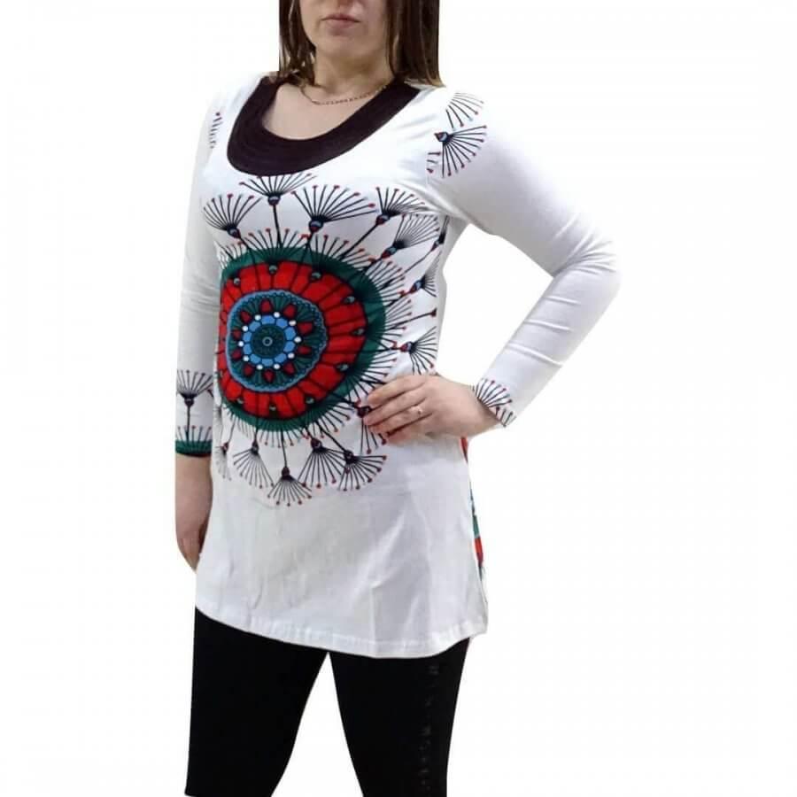 Női Tunika Mandala Jellegű Fehér Színben