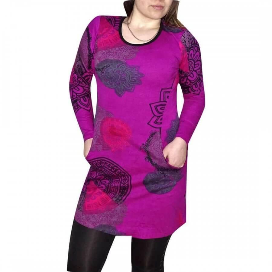 Csinos női tunika lila alapon egyedi mintával fekete színnel