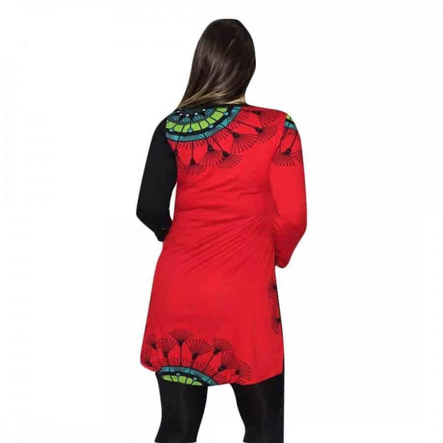 Egyedi piros tunika mandala mintával 5 méretben